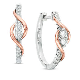 Ever Us™ 1/2 CT. T.W. Two-Stone Diamond Linear Swirl Earrings in 14K Two-Tone Gold