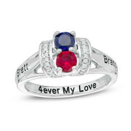 Couple's Simulated Birthstone and 1/10 CT. T.W. Diamond Collar Ring in Sterling Silver (2 Stones and 3 Lines)