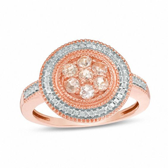 Morganite Cluster and Diamond Accent Vintage Style Beaded Frame Ring in 10K R