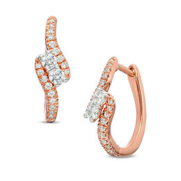 Ever Us™ 3/8 CT. T.W. Two-Stone Diamond Bypass Hoop Earrings in 14K Rose Gold