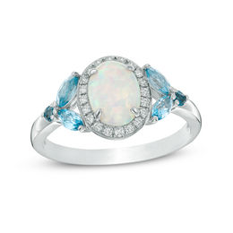 Oval Lab-Created Opal and White Sapphire Frame with London and Swiss Blue Topaz Ring in Sterling Silver - Size 7