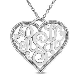 Personalized Monogram Heart Pendant in 14K White Gold (3 Initials)