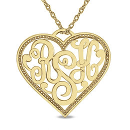 Personalized Monogram Heart Pendant in 14K Gold (3 Initials)