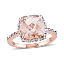 10.0mm Cushion-Cut Morganite and 1/10 CT. T.W. Diamond Frame Engagement Ring in 14K Rose Gold