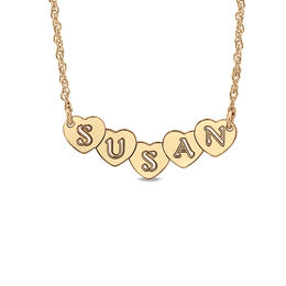 Personalized Hearts Necklace in 14K Rose Gold (9 Characters)