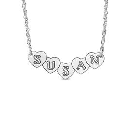 Personalized Hearts Necklace in 14K White Gold (9 Characters)