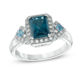 Radiant-Cut London and Swiss Blue Topaz with Lab-Created White Sapphire Vintage-Style Ring in Sterling Silver - Size 7