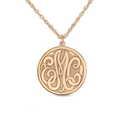Personalized Monogram Disc Pendant in 14K Rose Gold (3 Initials)