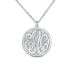 Personalized Monogram Disc Pendant in 14K White Gold (3 Initials)