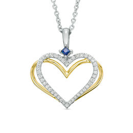 The Kindred Heart from Vera Wang Love Collection Diamond and Blue Sapphire Pendant in Sterling Silver and 14K Gold - 19""
