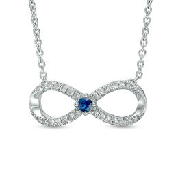 Vera Wang Love Collection 1/6 CT. T.W. Diamond and Blue Sapphire Infinity Necklace in Sterling Silver - 19""