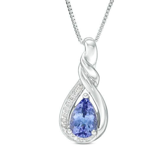 Zales Previously Owned - Oval Tanzanite and Diamond Accent Frame Pendant in Sterling Silver 8qCCxDDa
