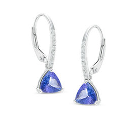 6.5mm Trillion-Cut Tanzanite and Diamond Accent Drop Earrings in 14K White Gold