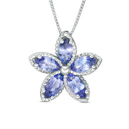 Marquise Tanzanite Beaded Flower Pendant in Sterling Silver