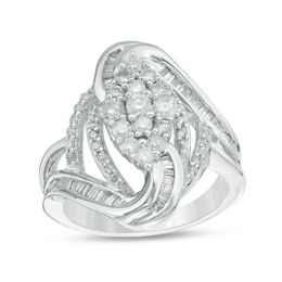 1 CT. T.W. Composite Diamond Marquise Bypass Ring in 10K White Gold