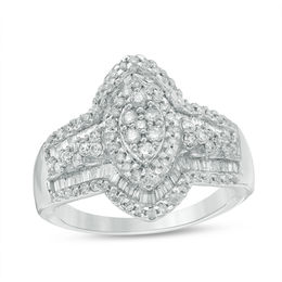 1 CT. T.W. Composite Diamond Marquise Ring in 10K White Gold