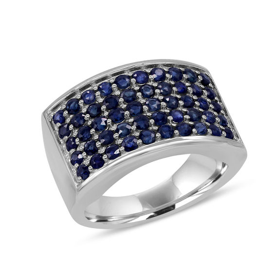 Blue Sapphire Multi Row Ring in Sterling Silver Expressionist