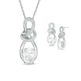 Oval Lab-Created White Sapphire and Diamond Accent Looping Infinity Pendant and Drop Earrings Set in Sterling Silver