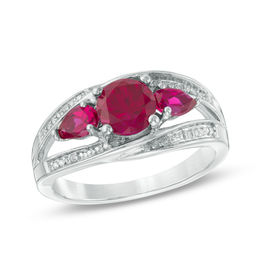 Zales Lab-Created Ruby and Diamond Accent Three Stone Heart Split Shank Ring in Sterling Silver hdKwoQAY