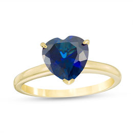 8.0mm Heart-Shaped Lab-Created Blue Sapphire Solitaire Ring in 10K Gold