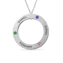 Mother's Simulated Birthstone with Name Circle Pendant in 10K Gold (1-5 Stones and Names)