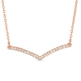 1/8 CT. T.W. Diamond Curved Chevron Necklace in 10K Rose Gold