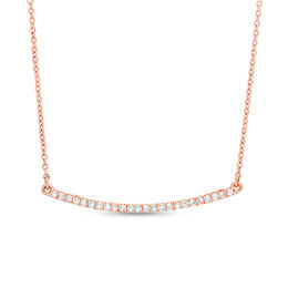 1/8 CT. T.W. Diamond Curved Bar Necklace in 10K Rose Gold