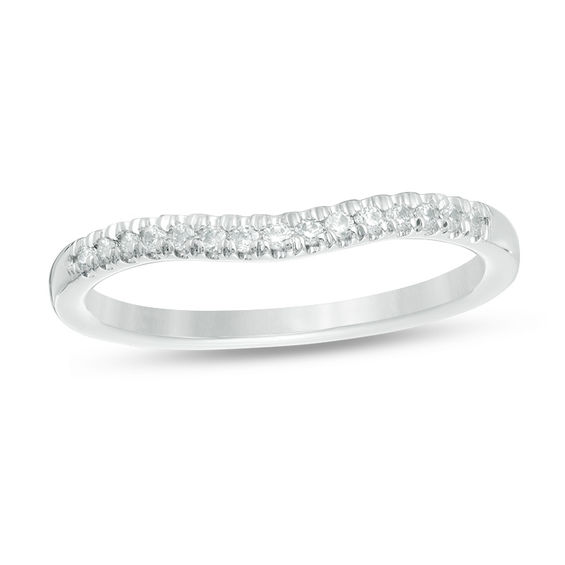 Love's Destiny by Zales 1/8 CT. T.w. Certified Diamond Contour Wedding Band in 14K White Gold (I/i1)