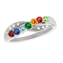 Mother's Birthstone and Diamond Accent Criss-Cross Ring in Sterling Silver (3-7 Stones)