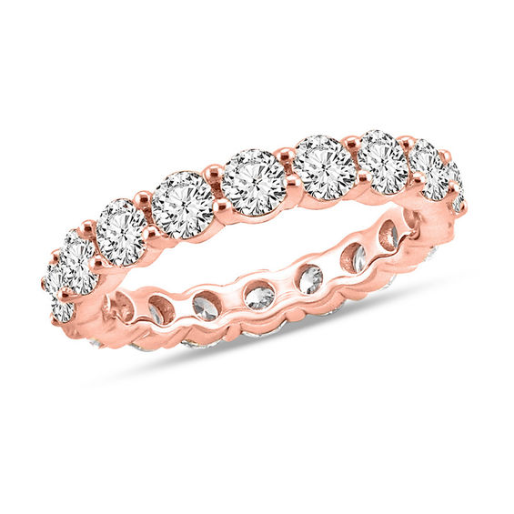 4 CT T W Diamond Eternity Band in 14K Rose Gold I I1