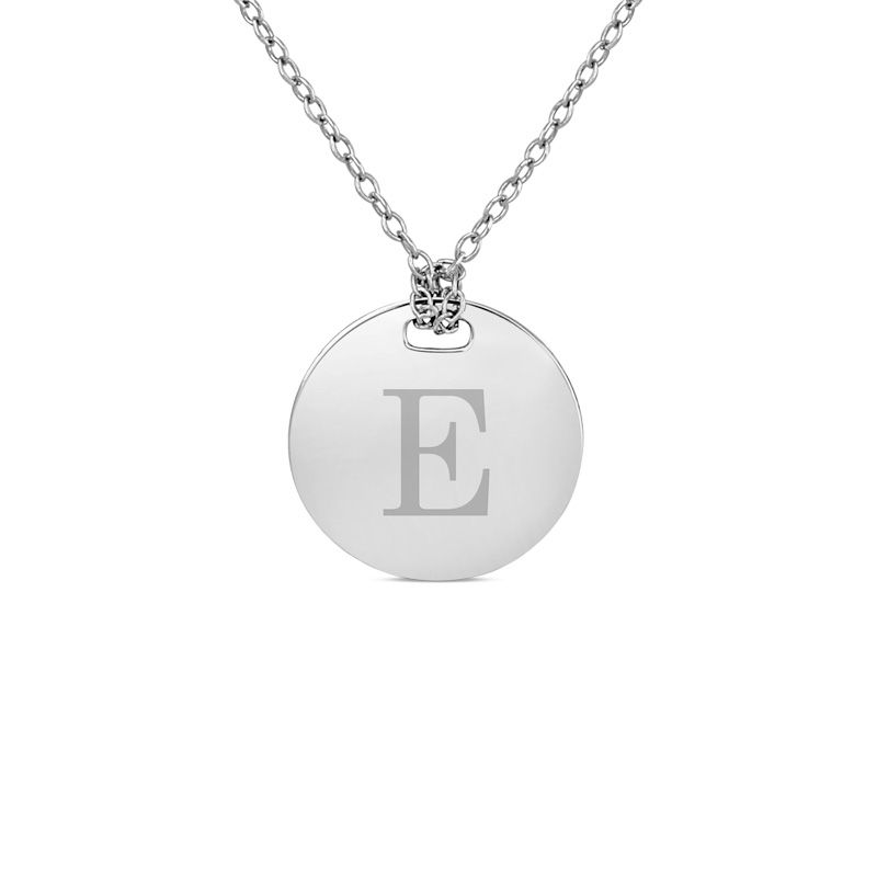 Zales 16.0mm Round Disc Initial Necklace in Sterling Silver (1 Initial) FapfOZk