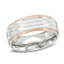 Men's 8.0mm Hammered Center and Rose IP Edge Wedding Band in Stainless Steel
