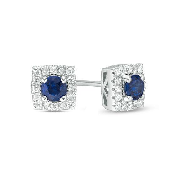 Zales Oval Blue Sapphire and Diamond Framed Earrings in 10K White Gold bk2KJ