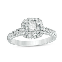 1/2 CT. T.W. Princess-Cut Diamond Double Frame Engagement Ring in 14K White Gold