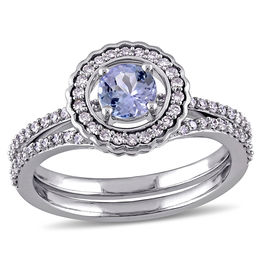 5.0mm Tanzanite and 1/3 CT. T.W. Diamond Frame Bridal Set in 10K White Gold