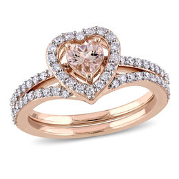 5.0mm Heart-Shaped Morganite and 1/2 CT. T.W. Diamond Frame Bridal Set in 10K Rose Gold