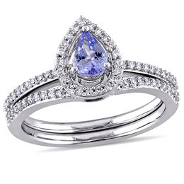Pear-Shaped Tanzanite and 1/3 CT. T.W. Diamond Frame Bridal Set in 10K White Gold