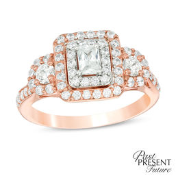1 CT. T.W. Certified Emerald-Cut Diamond Past Present Future® Frame Engagement Ring in 14K Rose Gold