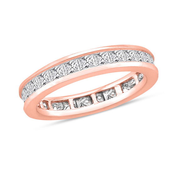 2 CT T W Princess Cut Diamond Channel Set Eternity Wedding Band in 14K Rose