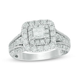 1-1/2 CT. T.W. Princess-Cut Diamond Double Frame Vintage-Style Engagement Ring in 14K White Gold