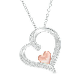 Diamond Accent Tilted Double Heart Pendant in Sterling Silver with 14K Rose Gold Plate
