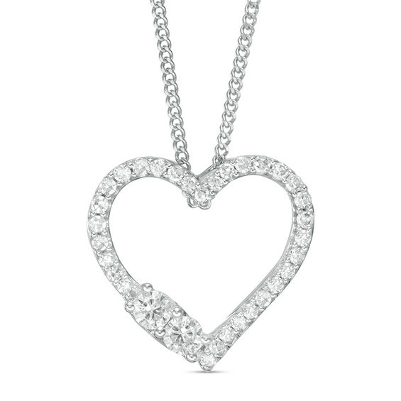 Ever Us™ 1 4 CT T W Two Stone Diamond Heart Pendant in