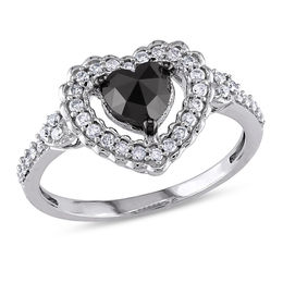 1 CT. T.W. Enhanced Black Heart-Shaped and White Diamond Scallop Frame Engagement Ring in 10K White Gold