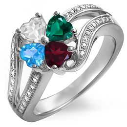 Mother's Quad Heart-Shaped Birthstone Clover Split Shank Ring (4 Stones)