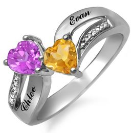 Couple's Heart-Shaped Birthstone and Diamond Accent Split Shank Ring (2 Stones and Names)