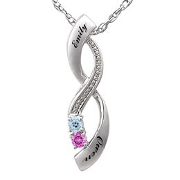 Couple's 3.0mm Birthstone and Diamond Accented Infinity Necklace (2 Stones and Names)