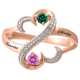 Open Hearts Family by Jane Seymour™ Birthstone and Diamond Accent Split Shank Ring (2-5 Stones and 2 Lines)