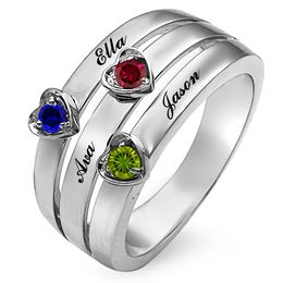 Mother's Heart-Shaped Birthstone Stack Ring (2-5 Stones and Names)