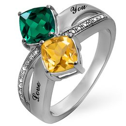 Mother's Cushion-Cut Birthstone and Diamond Accent Split Shank Ring (1-3 Stones and 2 Lines)