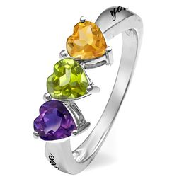 Mother's Birthstone Hearts Ring (2-4 Stones and 2 Lines)